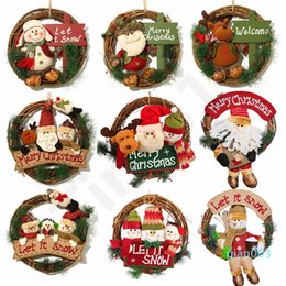 wall ring decoration Canada - Christmas Wreath 33cm Xmas Rattan Door Hanging Christmas Gifts Vine Ring Wall Flower Garland Snow Man Santa Decoration 30pcs T1I2246