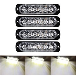 led bar signal car NZ - Car White Strobe Led Light 6 LED Strobe Signal Warning Light Bar Security Alarm Flash Flashing Bulb Surface Mount Lighthead Lamp 12V-24V