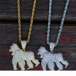mens gold chain jewellery UK - 18K Gold Plated Men Orangutan Pendant Necklace Ice Out Bling CZ Mens Hiphop Jewelry 2019 New Fashion Jewellery