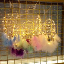 birthday decorations items UK - LED Dreamcatcher Wind Chime Luminous Dream Catcher Fashion Pendant Bedroom Christmas Decoration Birthday Gift Novelty Items WY194