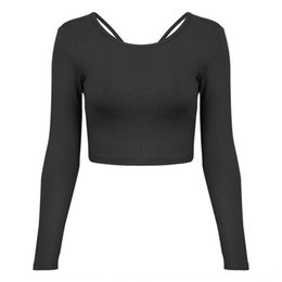 sexy running clothes UK - EhLvF Autumn and Winter sexy cross-body fitness clothing t-shirt sportswear women's long-sleeved T-shirt running quick-drying clothing yoga