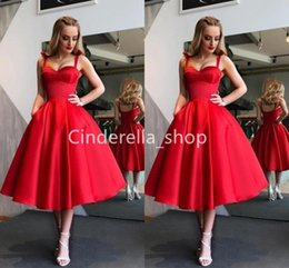 vintage velvet gown UK - Vintage Red Satin Prom Dresses Tea Length Bow Spaghetti Ball Gowns Women Formal Gowns With Pockets Plus Size Robes De Bal