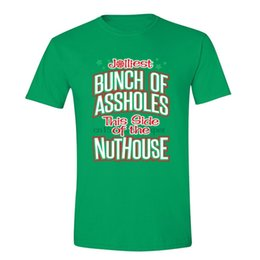 Wholesale christmas ugly sweater online – design Mens Jolliest Bunch Of Asholes Nuthouse Vacation Ugly Christmas Sweater T Shirt