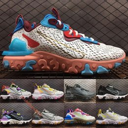 React Vision Light Bone Running Shoes For Men Women Sneakers 2020 Design Triple Black Saffron Vast Grey Barely Volt Trainers Size 36-45