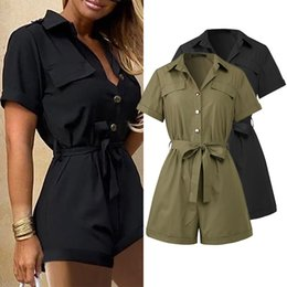 Beiläufige Frauen Kurzärmlig Spielanzug-Sommer-Frauen Jumpsuits Fashion Solid High Waist Lace Up Strampler Taschen Playsuits Plus Size 5XL
