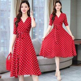 Wholesale high neck red polka dot dress for sale – plus size V neck polka dot knee high women s summer women s new chiffon red dress ins fairy dress g4eTP