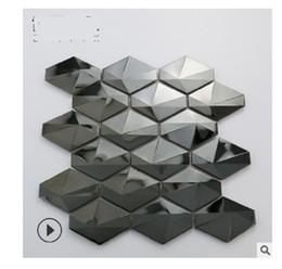 2020 heißen Verkauf Diamond Black Spiegel Metall Edelstahl Mosaik Hintergrund Wandfliese Licht Luxuxwohnzimmer Wandfliesen im Angebot