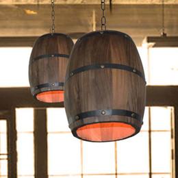 Wholesale 1Pcs Retro Hanging Fixture Pendant Lighting Wood Wine Barrel Suitable For Bar Cafe Lights Ceiling Restaurant Barrel Lamp