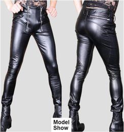 Wholesale sexy men leather pant resale online – Men Sexy Faux Leather Pants Skinny Stretchy Motorcycle Trousers Double Zip Unique Stylish