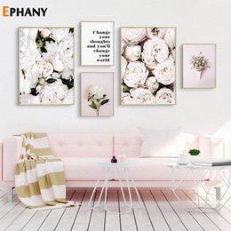 peonies picture UK - Pink Rose Peony Flower Wall Poster Nordic Botanical Floral Print Positive Quote Picture Scandinavian Canvas Painting Home Decor IPiB#