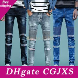 Wholesale mens skinny leg jeans resale online – designer Mens Jeans Fashion Ripped Jeans Fold Pants Biker Classic Skinny Slim Straight Drape Trousers Fit Casual Denim Pants Straight Leg Trousers