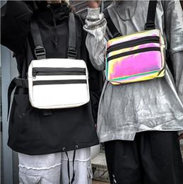 Mens Trendy Reflective Chest Bags Hip Hop Tactical Streetwear Laser Waist Bag Women Disco Party Luminous Reflective Chest Rig Bags on Sale