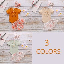 bandana print baby Australia - Newborn Baby Girls Cotton Pit Strip Suit Lace Short-sleeved Top+Printed Flower Shorts+ Bandana Romper 3pcs Tuit Hot Sell