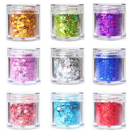 hexagon glitters UK - No bad smell ml Holographic Thick Nail Art Glitter Sequin Laser Blend Flake Flash D Hexagon Spangles Gel Polish Nail Decoration