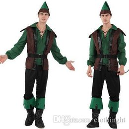 carnival cloths Australia - Adult Men Robin Hood Costume Green Archer Costumes Halloween Purim Holiday Party Carnival Cosplay Outfit Forest prince dress up cloth