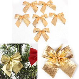 red bow christmas tree ornaments UK - 12pcs Christmas Tree Bow Decoration Baubles New Year Ornaments Santa Claus Christmas Decoration Supplies Red Gold Silver