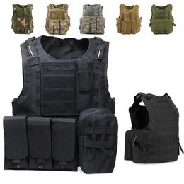 Discount molle plate carriers USMC Tactical Vest Combat Assault Plate Carrier Molle Vest Outdoor Clothing Camouflage Hunting