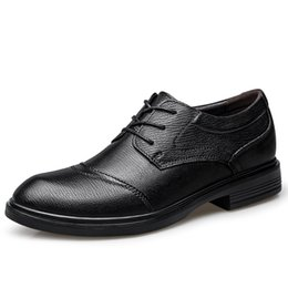 camp wedding dress Australia - Luxury Business Office Leather Breathable Male Dress Formal Flats Wedding 37-47 Men Oxford % Shoes Footwear Mocassin Shoes Homme Oqcnw
