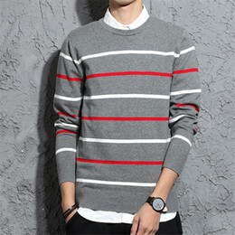Wholesale mens white cashmere sweater for sale – custom 2020 New Fashion Cashmere Sweater Mens Pullover Striped Slim Fit Jumpers Knitred Woolen Autumn Korean Style Casual Men Clothes