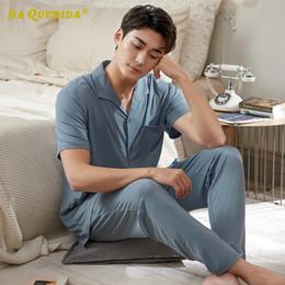 Wholesale man pajamas resale online - Fashion Style Casual Homesuit Homeclothes Sleepwear Casual Style Man Pajamas Set Modal Blue Soft Turn Down Collar Short Sleeve