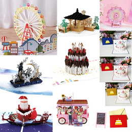 Wholesale ice castles for sale - Group buy 38 Styles Floats D Up Ferris Wheel Cake Star Moon Ice Castle Greeting Card Valentine Christmas Envelope Birthday Invitation