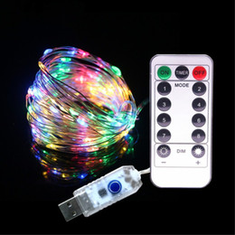 led string remote Australia - 33FT 10M 100LEDs 5V LED String Lights USB 8 Function Sliver wire Fairy LED Christmas Lights Wedding Party Holiday with RF Remote