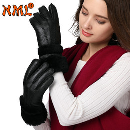 sheepskin mittens women NZ - Winter Gloves Long Women New Designer Heavy Type Real Leather Wool Fur Gloves Lovely Girls Sheepskin Leather Warm Winter Mittens