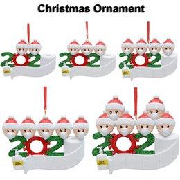 2020 Decoración de Navidad del ornamento del muñeco de nieve colgantes con la mascarilla del regalo del partido de bricolaje Navidad de la familia del árbol del envío rápido en venta
