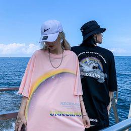Wholesale rainbow t shirt online – design Ins rainbow Unicorn print short sleeve T shirt for men and women