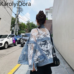 Wholesale women jeans patchwork lace floral resale online - Streetwear Lace Patchwork Jean Hole Denim Jacket Coat Women Oversized Long Sleeve Perspective Flower Embroidery Loose Overcoat CX200815