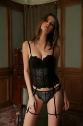 tight black body jumpsuit NZ - Lace jumpsuit gathered tight body shaping temptation transparent sexy bone Underwear Coat underwear coat 6664