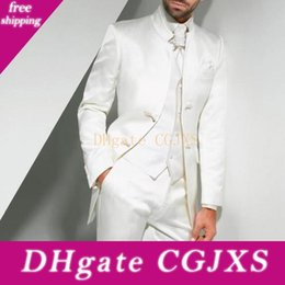 three piece suit for man style NZ - White Tunic Wedding Tuxedos For Groom Wear Chinese Style Two Button Custom Made Men Suits Three Piece Groomsmen Suit (Jacket Pants Vest )