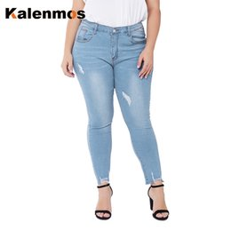 Wholesale women work pants resale online – Stacked Denim Pants Women KALENMONS High Waist Washed Jeans Pocket Bleached Summer Casual Trousers Sexy Baggy Work Jean Vintage