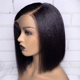 straight human hair wigs side part NZ - Yaki Straight Lace Wig with Natural Hairline Side Part Lace Front Human Hair Wig Brazilian Remy Hair Bleached Knots Small Cap