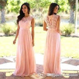 Babyonlinedress US Stock Coral Lace Chiffon Bridemaid Dresses 2020 Cheap Scoop Neck Wedding Party Gowns Vestido Madrinha CPS489