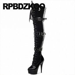 over the knee black 9 stiletto dance high heel shoes stripper waterproof winter boots women big size exotic dancer fetish O9Px#