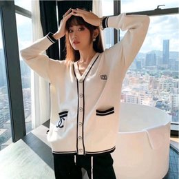 Wholesale cardigans style for women resale online - New autumn winter small fragrance fashion cardigan button up sweater web celebrity fashion sweater for women