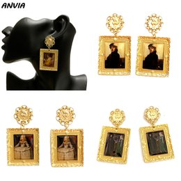 Wholesale metal artists for sale - Group buy Famous Oil Painting Jewelry Europe Artist Design Drop Earrings Women Girls Classic Gold Metal Vintage Accessories Brincos