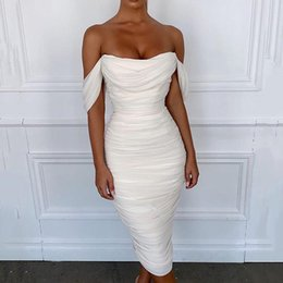 Wholesale off shoulder mini dresses resale online – Women winter dress sexy party club night bodycon off shoulder pleated backless slip white black midi ruched dresses woman fall S L