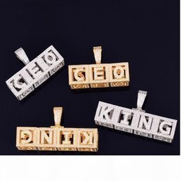 dice letters Canada - Custom Name Necklace Hip Hop Jewelry Ice Out Personal Square Letter Pendant Men's Rock Street Necklace Dice Letter with rope chain