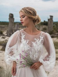 bubble wedding dresses UK - glswe dress embroidered round bubble bubble sleeve mesh 2020 jumpsuit wedding 4oYho 2020 new round neck neck sleeve mesh embroidery embroider