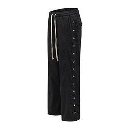 Wholesale mens sweats pants resale online – Side Button Drawstring Baggy Track Pants Mens Streetwear Straight Loose Casual Trousers Jogger Hip Hop Sweat Pants