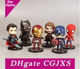 gifts made iron UK - 2019 New 6 Anime Hand -Made Toys Avengers Doll Iron Man Spider -Man Captain America Ornaments Children S Toys Gifts