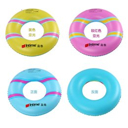 swim floats for adults NZ - Inflatable Printed Ring Swim Tube 3 sizes Durable Swimming Circle Floating for adults Children 1 pack Blue Pink Green Yellow