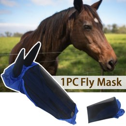 Horse Protector Anti-mosquito Comfort Blue Mesh Armour Full Face Horse Fly Mask on Sale