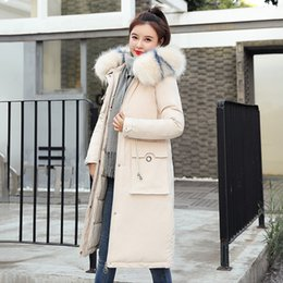 Wholesale parka korean style for sale - Group buy Korean Style Winter Women X long Jacket Slim Thick Coat Ladies Hooded With Fur Collar Cotton Padded Solid Female Parkas Outwear
