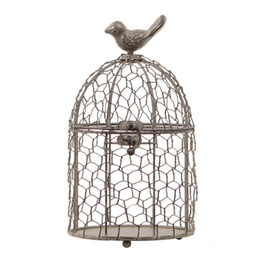 wrought iron home decor UK - Tabletop Ornament Home Decor Retro Bird Cage Decoration Wrought Iron Flower Pot