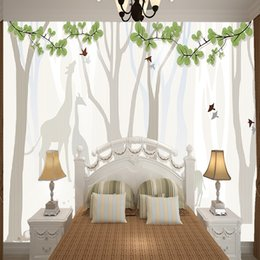 giraffe decorations NZ - Custom new simple mural forest and giraffe abstract wall paper for living room bedroom wall decoration