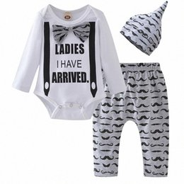 baby mustache clothes Canada - Toddler Infant Newborn Baby Boy Clothing Letter Long Sleeve Romper Tops Cartoon Mustache Pants+Hat Cotton Clothes Outfits Set BvIV#