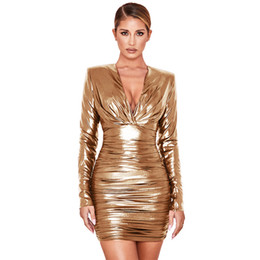 Wholesale stamp dresses for sale – plus size Womens Elastic Force Gold Stamp Bodycon Dress Sexy Slim Patchwork Dress with Zipper Deep V Neck Clothing